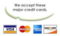 We accept major credit cards Visa, Mastercard, Amex, and discover logos